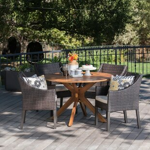Gracie Oaks Pifer Outdoor Wicker Rectangular 5 Piece Dining Set with Cushions