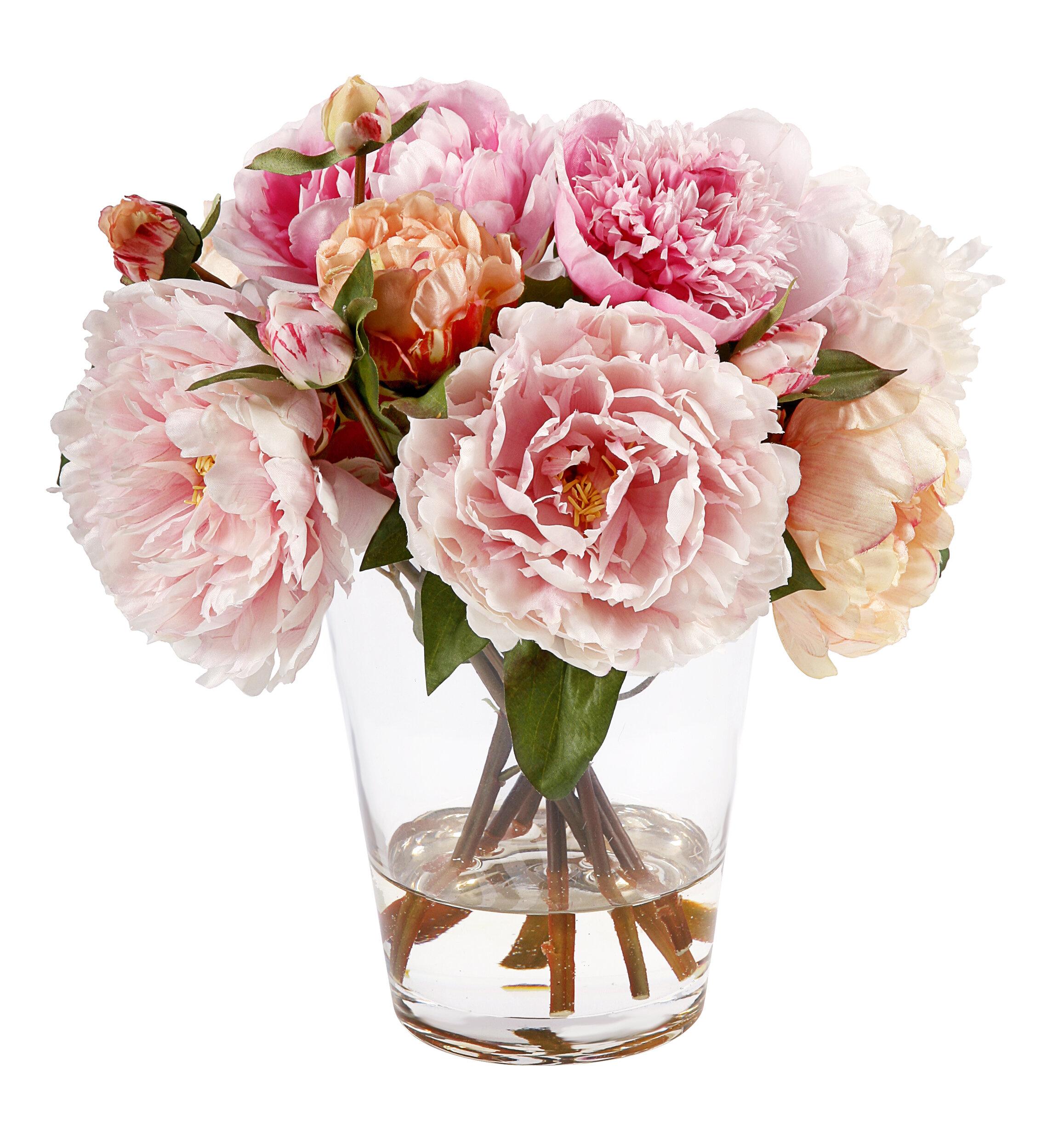 Faux Peonies Floral Arrangement Reviews Birch Lane
