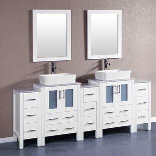 Cuba 84 Double Bathroom Vanity Set with Mirror by Bosconi