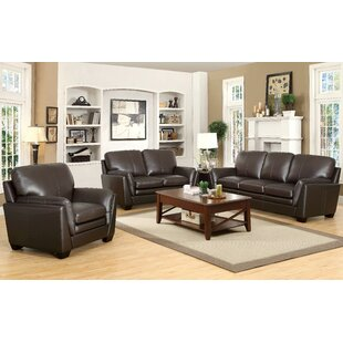 Darby Home Co Whitstran 3 Piece Leather L..