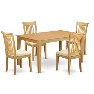 Charlton Home Smyrna 5 Piece Solid Wood Dining Set