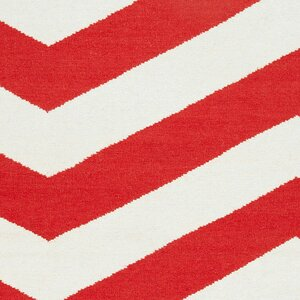 Diego Orange-Red/White Chevron Area Rug