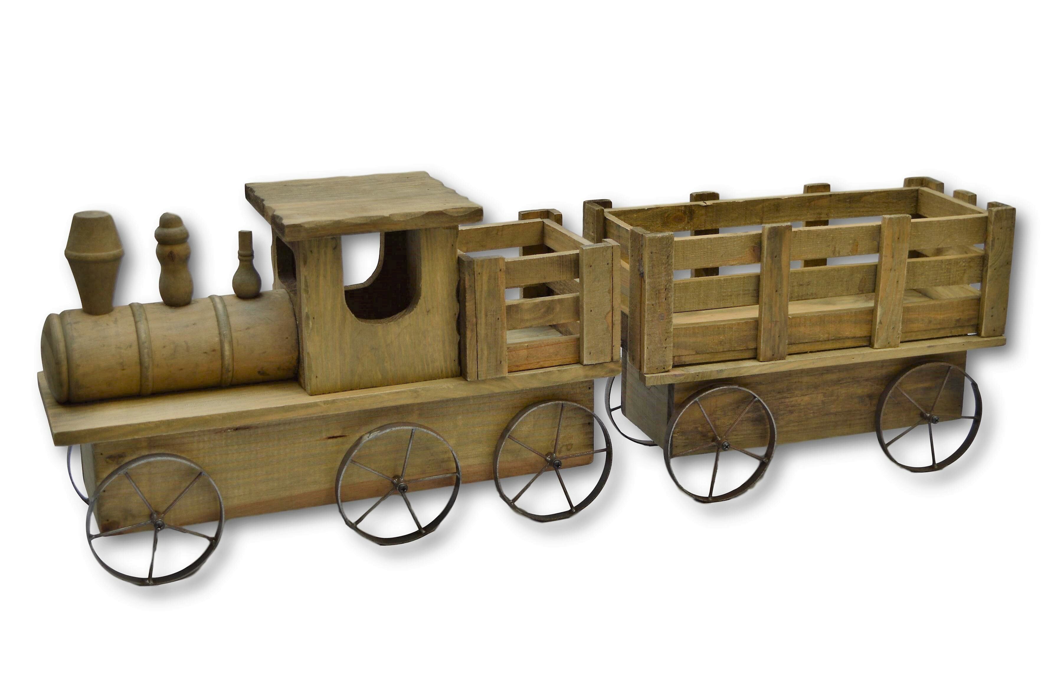 Castleton Home Train Cedar Wooden Statue Planter Wayfair Co Uk