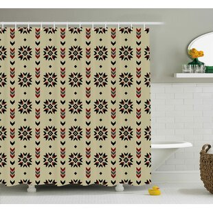 Vinoe Ethnic Tribal Chevron Colored Flowers Like Geometric Stripes Artwork Image Single Shower Curtain
