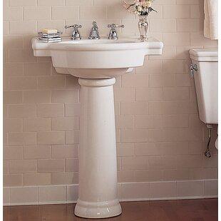 Price Check Retrospect Ceramic 27 Pedestal Bathroom Sink with Overflow ByAmerican Standard