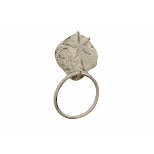 Trend Cast Iron Shell Sand Dollar Starfish Towel Ring ByHandcrafted Nautical Decor