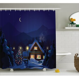 Christmas Winter Home and Tree Single Shower Curtain