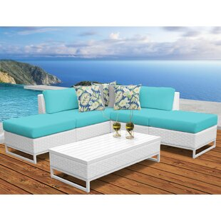 Miami 6 Piece Rattan Sectional Seating Group With Cushions by TK Classics Today Sale Only