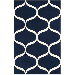 Martins Hand-Tufted Dark Blue/Ivory Area Rug