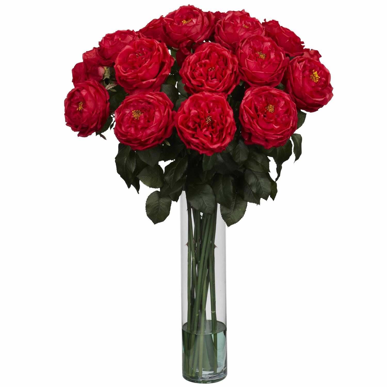Nearly natural fancy rose silk flower arrangement in red wayfair mightylinksfo