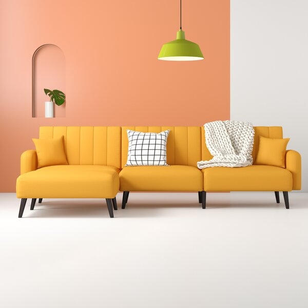 Remarkable Mustard Yellow Sectional Sofa Wayfair Machost Co Dining Chair Design Ideas Machostcouk