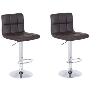 Shultis Adjustable Height Swivel Bar Stool (Set of 2)