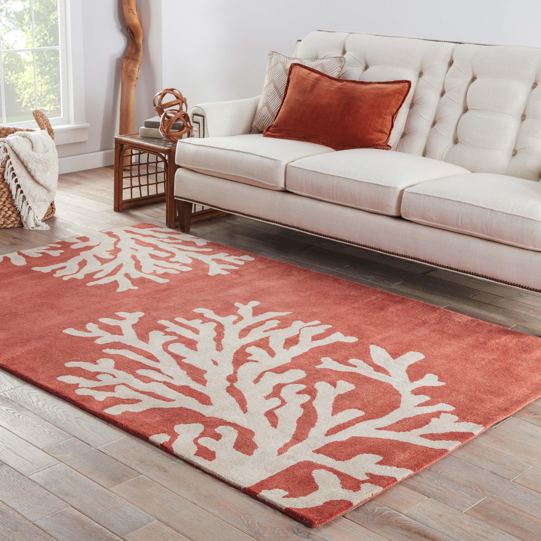 Rosecliff Heights Granger Floral Handmade Tufted Wool Orange Area Rug Reviews Wayfair