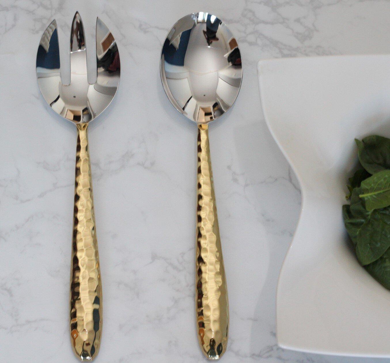 Astoria Grand Mcgary Faceted 2 Piece Serving Spoon Set Wayfair