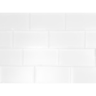 Frosted Elegance 3 x 6 Glass Subway Tile in Matte White by Abolos
