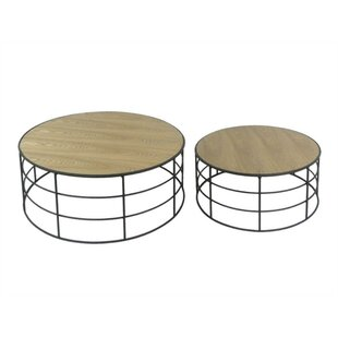 Gracie Oaks Aske Exquisite Wood and Metal 2 Piece Nesting Tables