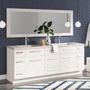 Big Save Mosley 84 Double Bathroom Vanity Set with Mirror By Wrought Studio
