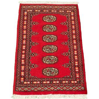 World Menagerie Rodey Hand Knotted Wool Red Rug Wayfair
