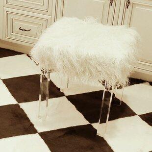 Cherie Lamb Faux Fur Acrylic Square Leg Stool