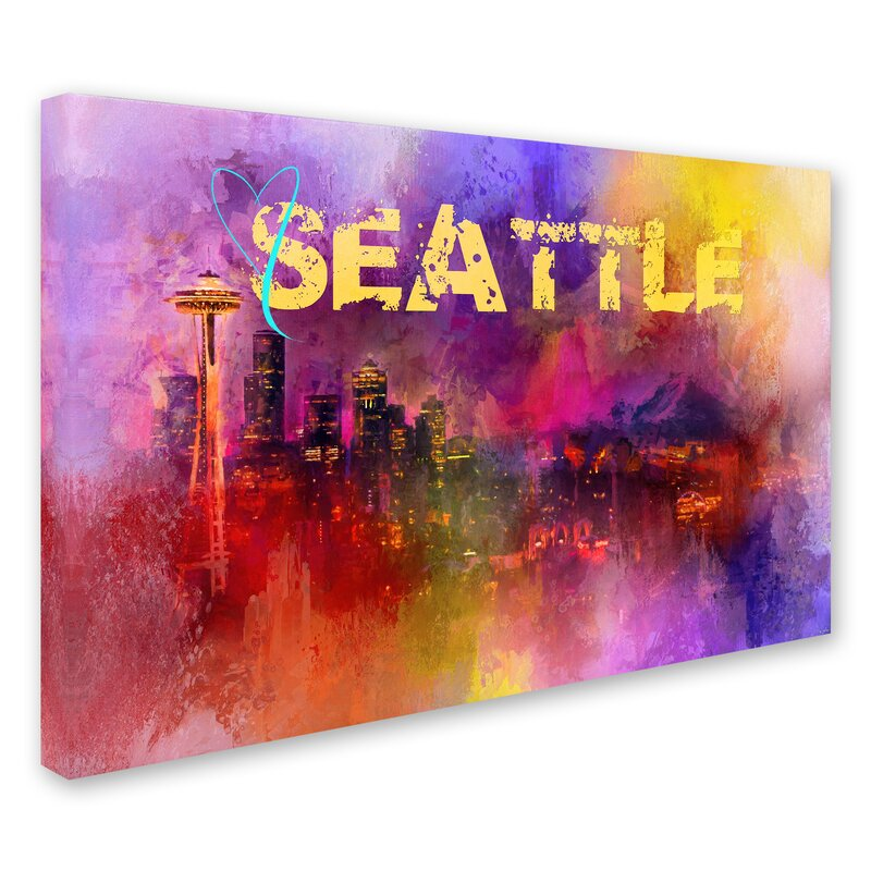 Trademark Art Sending Love To Seattle Graphic Art Print On Wrapped Canvas Wayfair