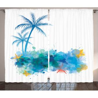 East Urban Home Abstract Seashell Nautical Room Darkening Rod Pocket Curtain Panels Wayfair