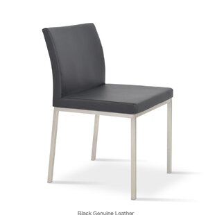 sohoConcept Aria Parsons Chair in Genuine Leather Upholstered Dining Chair