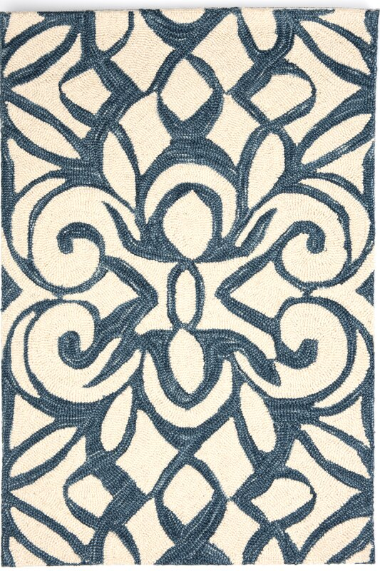 Hooked Blue/White Area Rug
