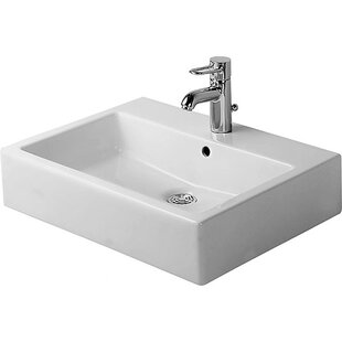 Vero Ceramic Rectangular Vessel Bathroom Sink with Overflow Duravit