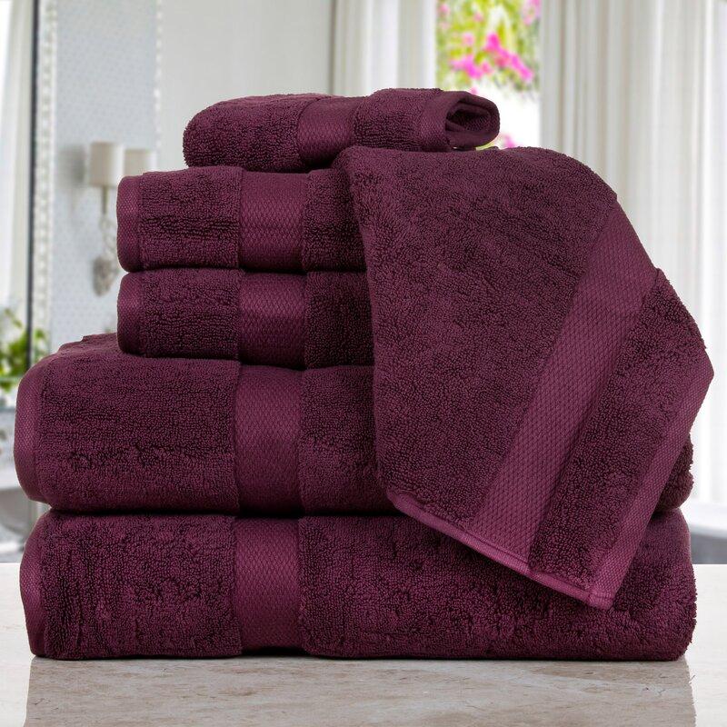 Affinity Linens Madhvi Premium Quality Luxury 6 Piece Cotton Towel Set  Color: Burgundy