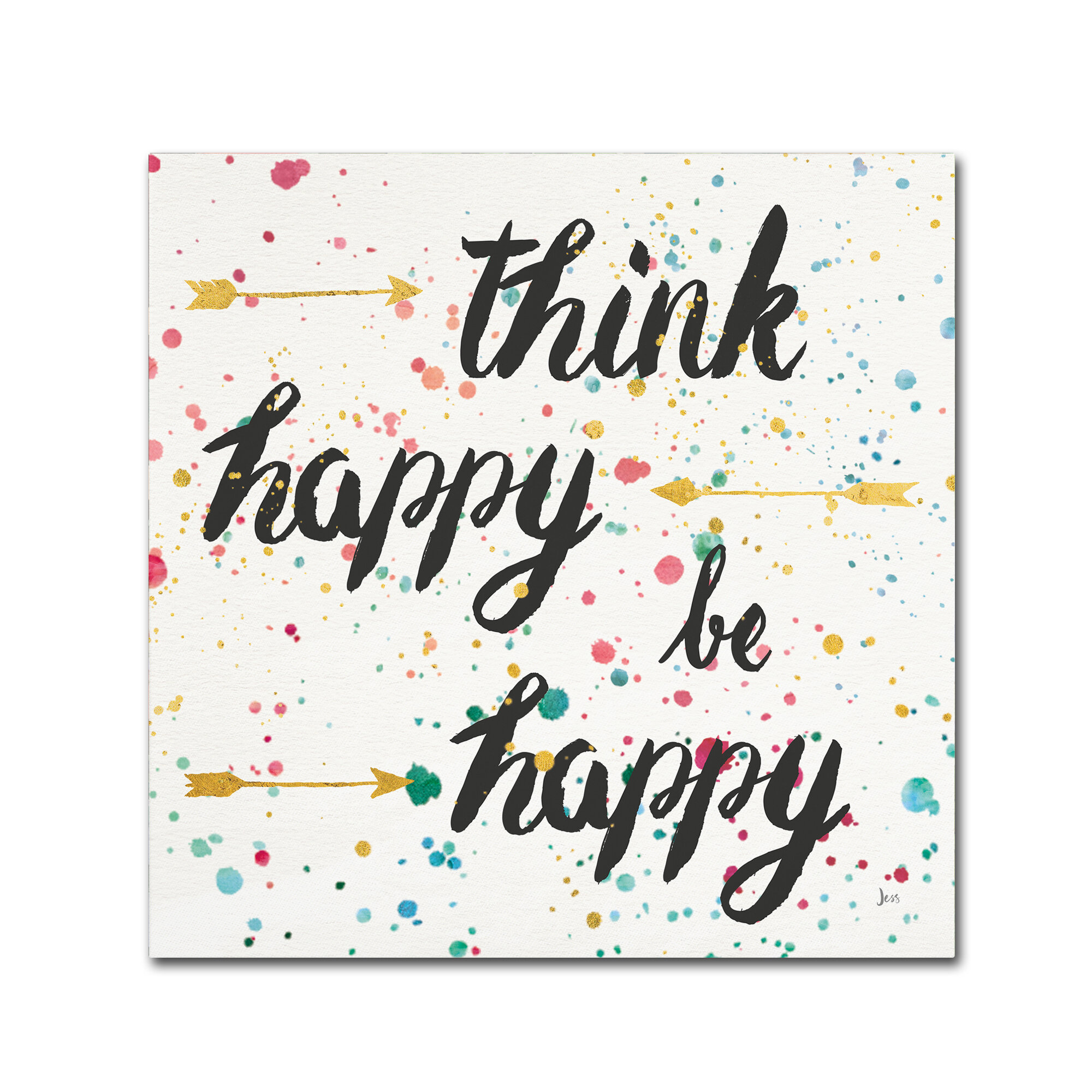 Trademark Art Think Happy Ii Textual Art On Wrapped Canvas Wayfair