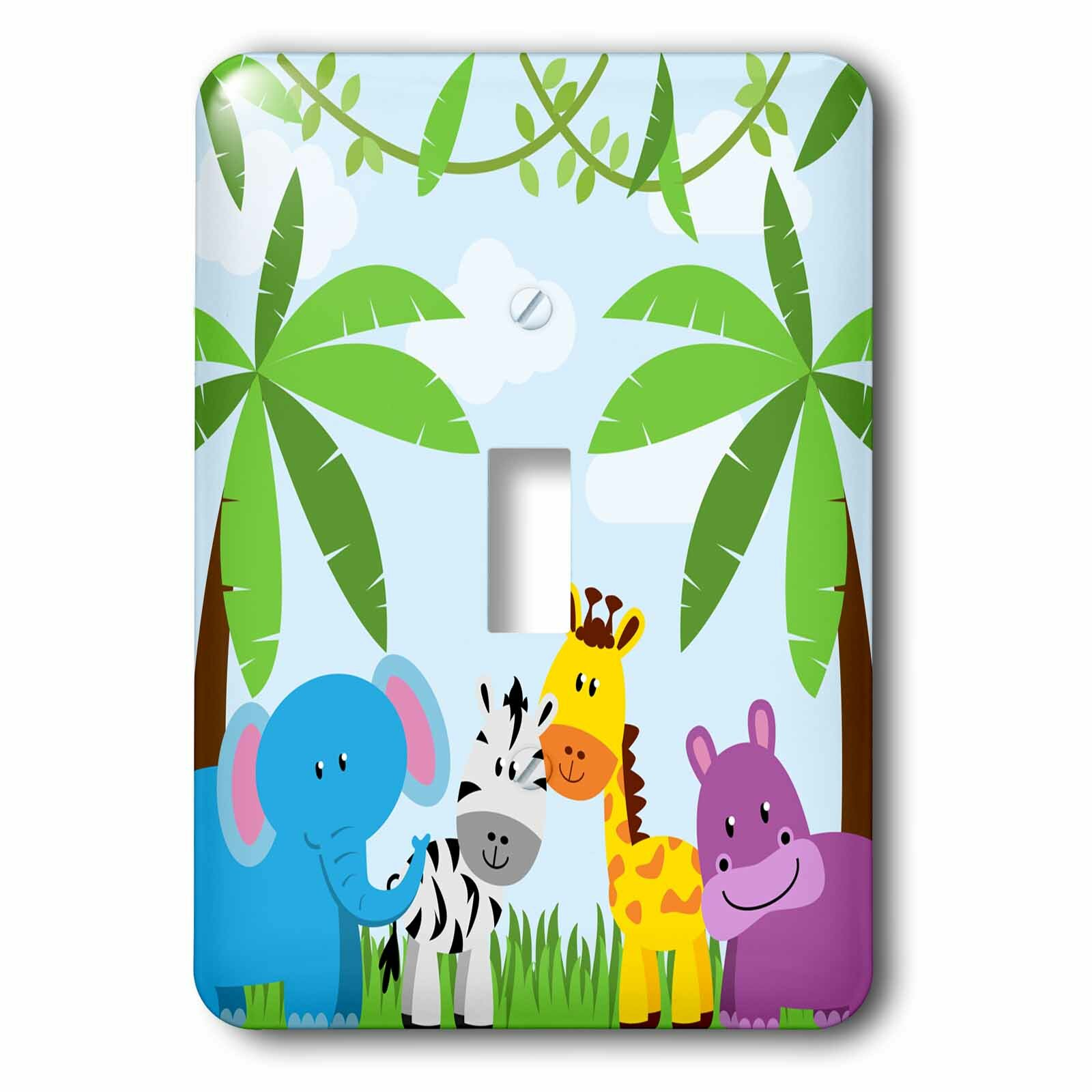 3drose Cute Jungle Animals Scene 1 Gang Toggle Light Switch Wall Plate Wayfair Ca