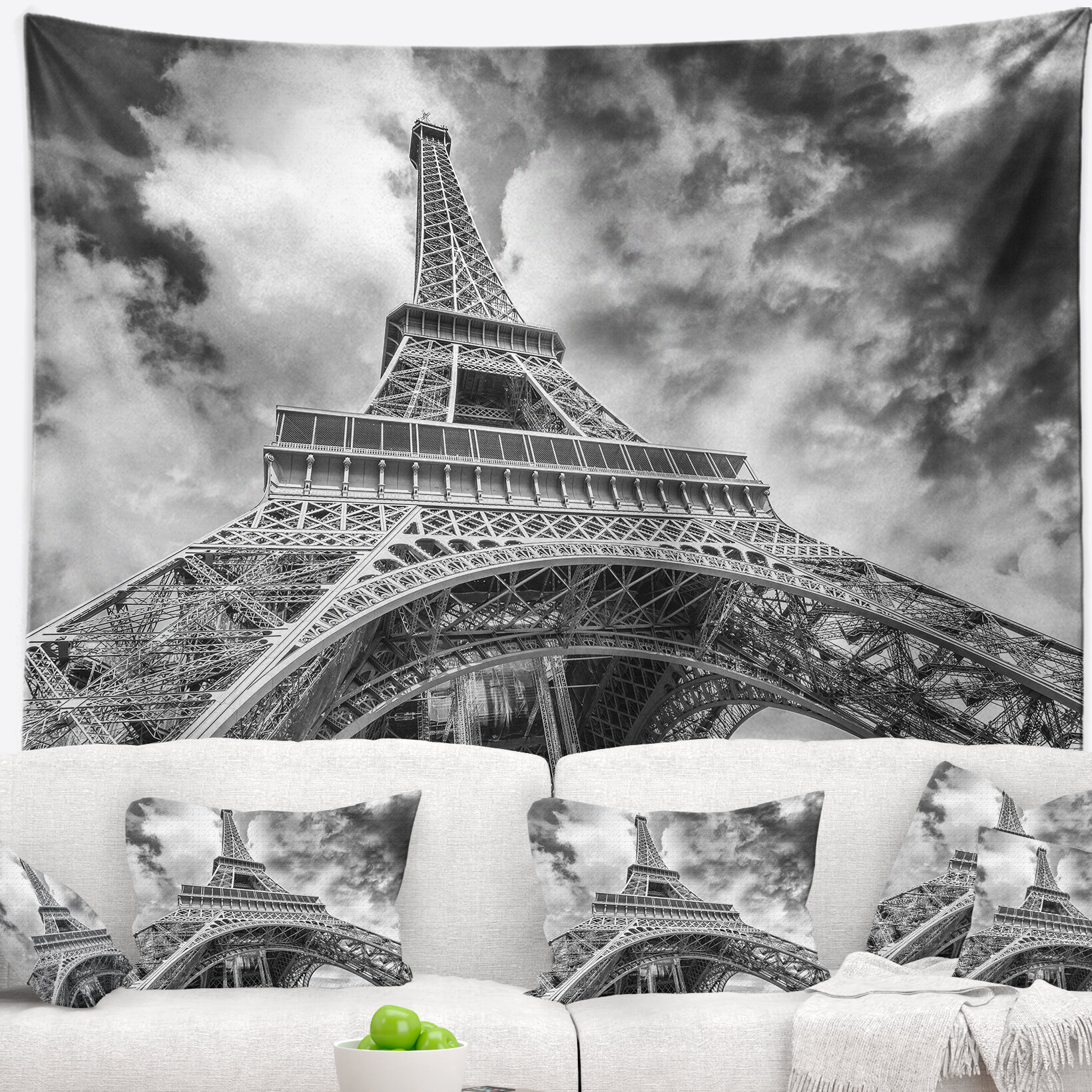 East urban home cityscape black and white view of eiffel tower tapestry wayfair