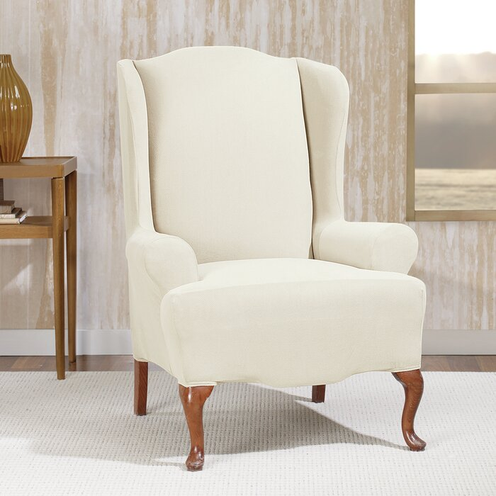 Surprising Stretch Morgan T Cushion Wingback Slipcover Gmtry Best Dining Table And Chair Ideas Images Gmtryco