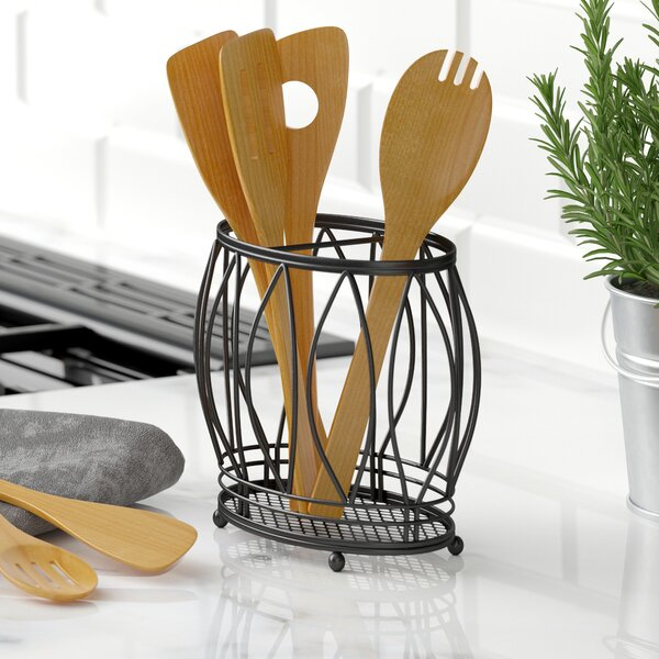 attractive Spinning Utensil Caddy Part - 10: Stainless Utensil Holder | Wayfair