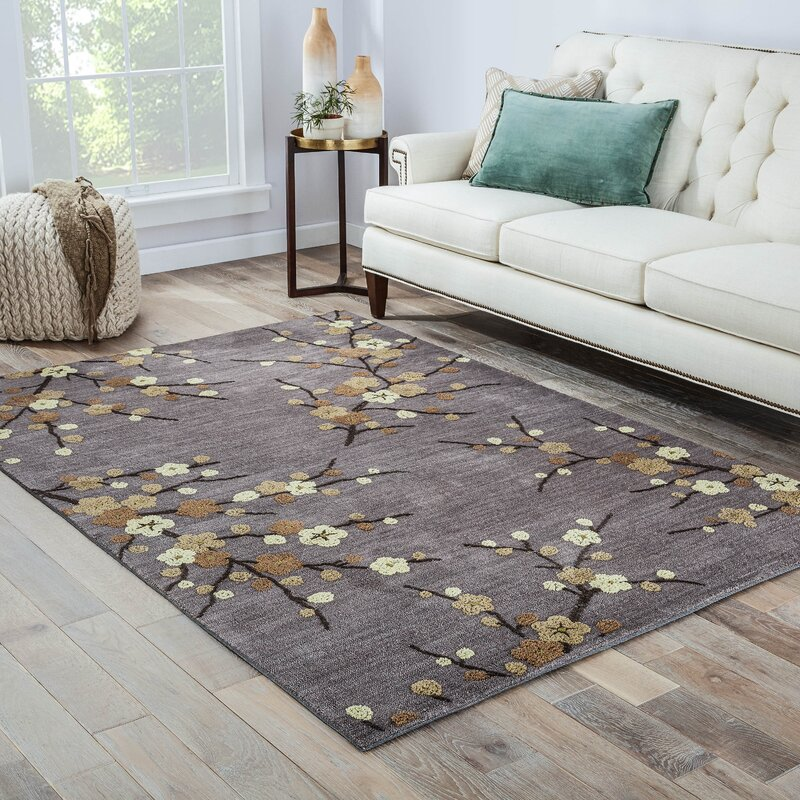 Cherry Blossom Area Rug Part - 30: Anselmo Cherry Blossom Hand-Tufted Gray/Yellow Area Rug