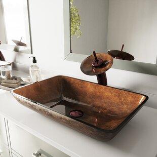 Shopping for Tempered Glass Rectangular Vessel Bathroom Sink By VIGO