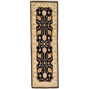 Order One-of-a-Kind Huntingdon Hand-Knotted  1'7 x 5'1 Wool Black/Beige Area Rug By Isabelline