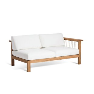 Maro Teak Right Arm Loveseat with Sunbrella Cushions