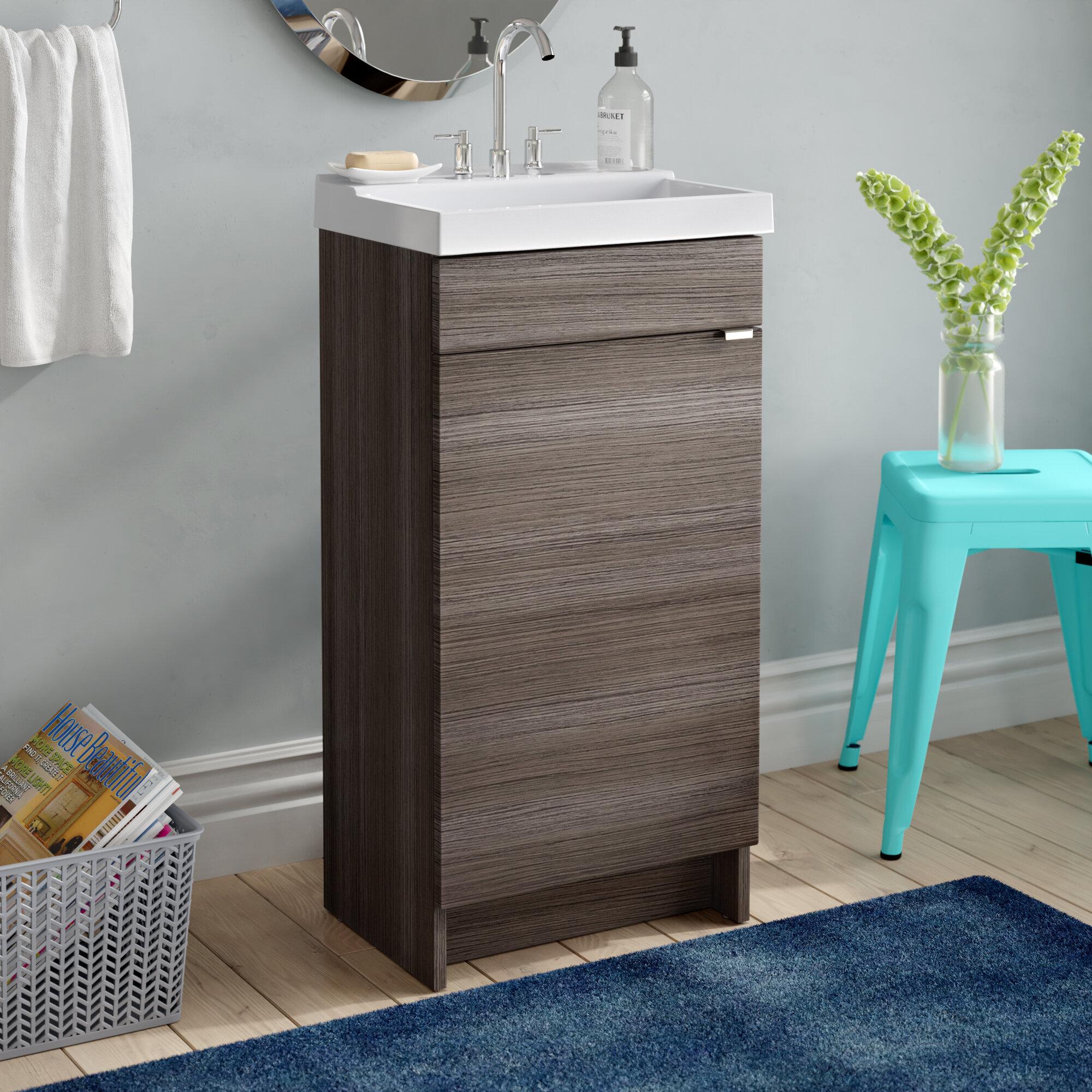 Orren Ellis Fraizer Teak 17 Single Bathroom Vanity Set Reviews Wayfair
