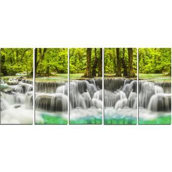 Designart Erawan Waterfall Kanchanaburi Province 4 Piece Photographic Print On Wrapped Canvas Set Wayfair