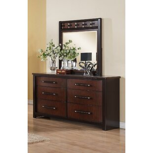 Devaughn Contemporary 6 Drawer Double Dresser with Mirror