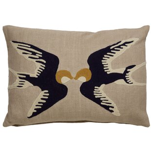 Purti Kissing Birds Pattern Cotton Lumbar Pillow