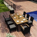 Holbrook 9 Piece Teak Sunbrella Dining Set with Cushions