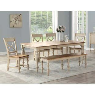 6 Piece Extendable Solid Wood Dining Set