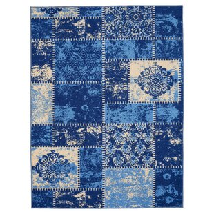 Shop For Anne Patchwork Blue/Ivory Area Rug By Diagona Designs