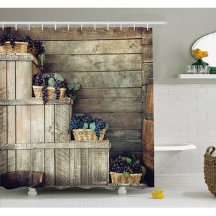Grapes Various In Wooden Wicker Basket Ivy Viniculture Gourmet Photo Shower Curtain Set by Ambesonne #1