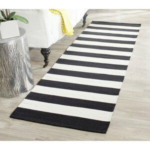 Handgewebter Teppich Montauk in Schwarz/Weiß
