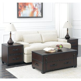 Elijah 3 Piece Coffee Table Set in Cherry