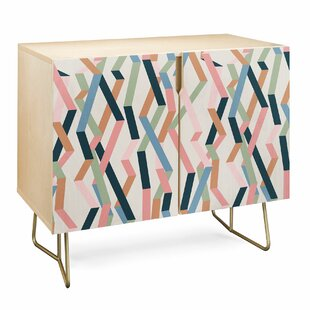 Mareike Straight Geometry Ribbons Accent Cabinet by East Urban Home
