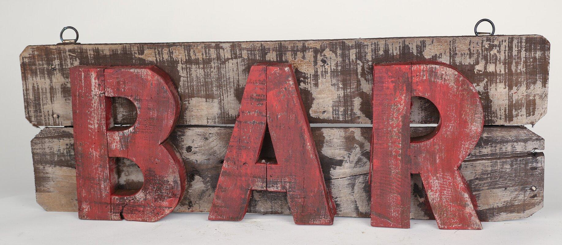 MyAmigosImports Rustic Wooden Bar Sign Wall Decor & Reviews | Wayfair